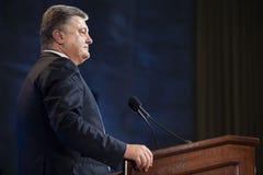 Petro Poroshenko à l'Université de Columbia à New York City Photos libres de droits