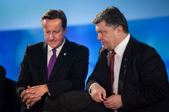 Petro Poroshenko και Ντέιβιντ Κάμερον κατά τη διάρκεια μιας συνεδρίασης στο ΝΑΤΟ Στοκ φωτογραφίες με δικαίωμα ελεύθερης χρήσης