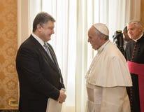 Petro Poroshenko и Папа Фрэнсис Стоковые Изображения RF