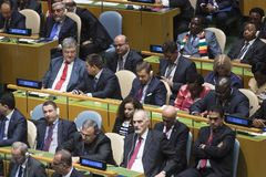 Petro Poroshenko at the 73th session of the UN royalty free stock photography