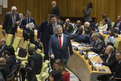 Petro Poroshenko at the 73th session of the UN royalty free stock photos