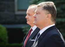 Petro Poroshenko and Andrej Kiska Stock Photography