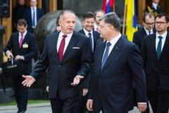 Petro Poroshenko and Andrej Kiska Stock Image