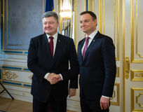 Petro Poroshenko and Andrzej Duda. Meeting in Kiev. KIEV, UKRAINE - Dec 15, 2015: President of Ukraine Petro Poroshenko and President of the Republic of Poland stock photos