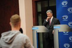 Petro Poroshenko arrived at Olimpiyskiy Stadium for a presidential election debate with Volodymyr Zelenskiy. stock images