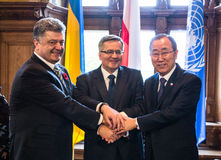 Petro Poroshenko, Ban Ki-moon and Bronislaw Komorowski Royalty Free Stock Image