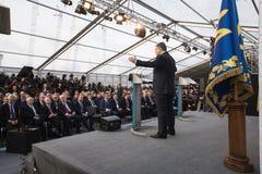 Petro Poroshenko bij Chornobyl-kernenergieinstallatie Royalty-vrije Stock Afbeelding