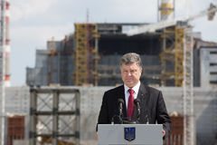 Petro Poroshenko at the Chernobyl nuclear power plant Royalty Free Stock Photos