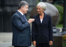 Petro Poroshenko and Christine Lagarde Royalty Free Stock Photography