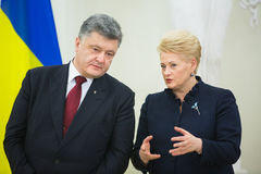 Petro Poroshenko and Dalia Grybauskaite Royalty Free Stock Image