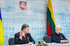 Petro Poroshenko and Dalia Grybauskaite. VILNIUS, LITHUANIA - Dec 02, 2015: President of Ukraine Petro Poroshenko and President of Lithuania Dalia Grybauskaite Royalty Free Stock Images
