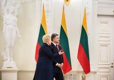 Petro Poroshenko and Dalia Grybauskaite. VILNIUS, LITHUANIA - Dec 02, 2015: President of Ukraine Petro Poroshenko and President of Lithuania Dalia Grybauskaite Stock Photography