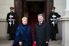Petro Poroshenko and Dalia Grybauskaite Stock Photos