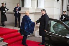 Petro Poroshenko and Dalia Grybauskaite. VILNIUS, LITHUANIA - Dec 02, 2015: President of Ukraine Petro Poroshenko and President of Lithuania Dalia Grybauskaite Royalty Free Stock Photo