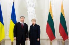 Petro Poroshenko and Dalia Grybauskaite. VILNIUS, LITHUANIA - Dec 02, 2015: President of Ukraine Petro Poroshenko and President of Lithuania Dalia Grybauskaite Royalty Free Stock Image