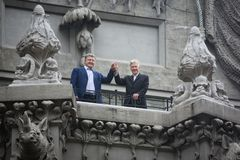Petro Poroshenko and David Lynch Royalty Free Stock Photo