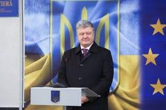 Petro Poroshenko an der Einweihung neuer ukrainischer Grenze Palanca Moldovans lizenzfreies stockfoto