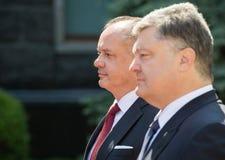 Petro Poroshenko e Andrej Kiska Immagini Stock Libere da Diritti