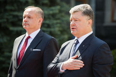 Petro Poroshenko e Andrej Kiska Immagini Stock