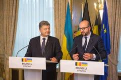 Petro Poroshenko en Charles Michel Stock Foto's