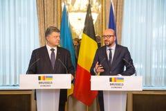 Petro Poroshenko en Charles Michel Royalty-vrije Stock Foto