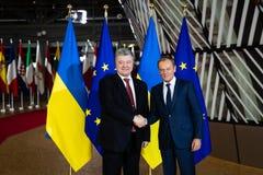Petro Poroshenko en Donald Tusk stock fotografie