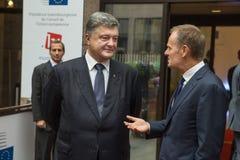 Petro Poroshenko en Donald Tusk Royalty-vrije Stock Foto