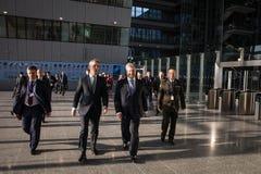 Petro Poroshenko en Jens Stoltenberg royalty-vrije stock foto's