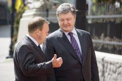 Petro Poroshenko en Lars Lokke Rasmussen Stock Foto's