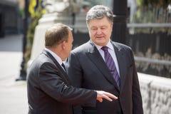 Petro Poroshenko en Lars Lokke Rasmussen Stock Foto