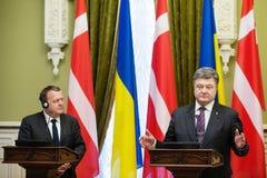 Petro Poroshenko en Lars Lokke Rasmussen Stock Afbeeldingen