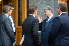 Petro Poroshenko en Svyatoslav Tsegolko royalty-vrije stock afbeelding