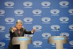 Petro Poroshenko arrived at Olimpiyskiy Stadium for a presidential election debate with Volodymyr Zelenskiy.