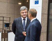 Petro Poroshenko et Donald Tusk Image libre de droits