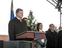 Petro Poroshenko et nouvelle police de patrouille de l'Ukraine Photographie stock