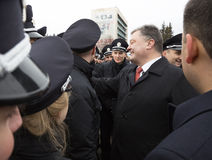 Petro Poroshenko et nouvelle police de patrouille de l'Ukraine Images libres de droits