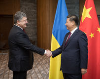 Petro Poroshenko et XI Jinping Photo libre de droits