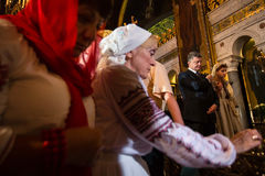 Petro Poroshenko at festive liturgy at St. Vladimir Patriarchal Stock Photo