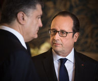 Petro Poroshenko and Francois Hollande Royalty Free Stock Images