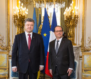 Petro Poroshenko and Francois Hollande Stock Image