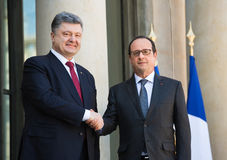 Petro Poroshenko and Francois Hollande Stock Photos