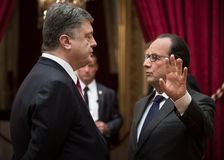 Petro Poroshenko and Francois Hollande Royalty Free Stock Image