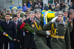 Petro Poroshenko honored the memory of soldiers killed in Afghan Royalty Free Stock Image