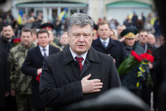Petro Poroshenko honored the memory of soldiers killed in Afghan Royalty Free Stock Photo