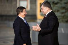 Petro Poroshenko i Ahmet Davutoglu Zdjęcie Stock