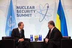 Petro Poroshenko i Ban Ki-moon Zdjęcie Royalty Free