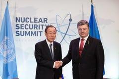 Petro Poroshenko i Ban Ki-moon Obraz Royalty Free