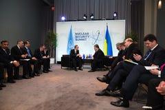 Petro Poroshenko i Ban Ki-moon Obrazy Stock