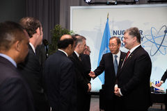 Petro Poroshenko i Ban Ki-moon Zdjęcia Royalty Free