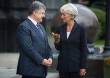 Petro Poroshenko i Christine Lagarde Fotografia Stock